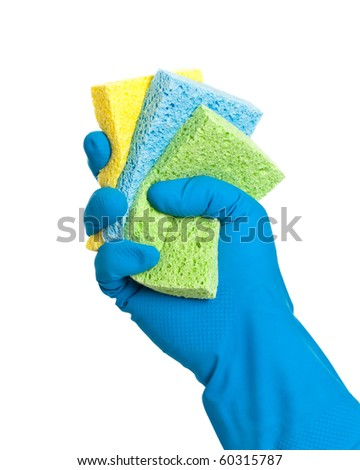 Washing up sponges  in gloved hand on white background