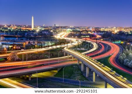 Washingon, DC, USA  skyline at night. - stock photo
