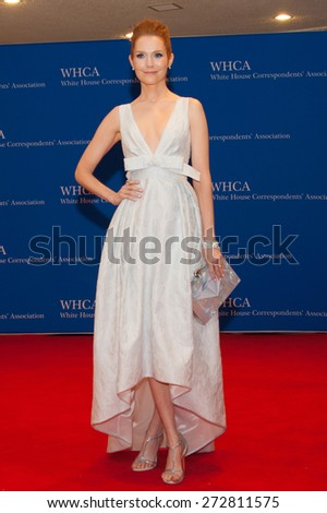 WASHINGTON APRIL 25 - Actress Darby Stanchfield arrives at the White House Correspondents' Association Dinner April 25, 2015 in Washington, DC  - stock photo