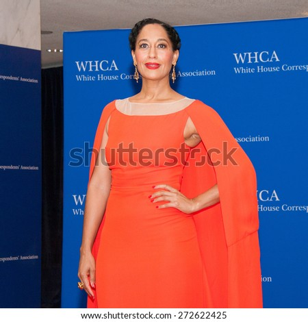 WASHINGTON APRIL 25 â?? Actress Tracee Ellis Ross arrives at the White House Correspondentsâ?? Association Dinner April 25, 2015 in Washington, DC - stock photo