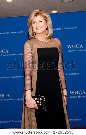 WASHINGTON APRIL 25 â?? Arianna Huffington arrives at the White House Correspondentsâ?? Association Dinner April 25, 2015 in Washington, DC - stock photo
