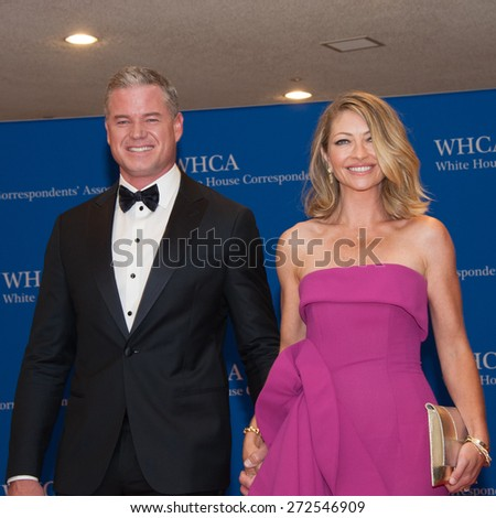 WASHINGTON APRIL 25 â?? Eric Dane and wife Rebecca Gayheart arrive at the White House Correspondentsâ?? Association Dinner April 25, 2015 in Washington, DC - stock photo