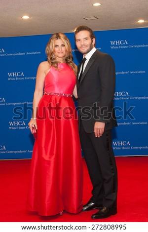WASHINGTON APRIL 25 - Idina Menzel and guest at the White House Correspondents' Association Dinner April 25, 2015 in Washington, DC - stock photo