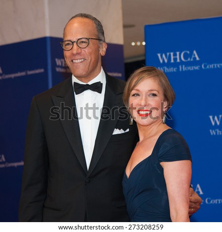 WASHINGTON APRIL 25  Lester Holt and wife Carol Hagen arrives at the White House Correspondents Association Dinner April 25, 2015 in Washington, DC  - stock photo
