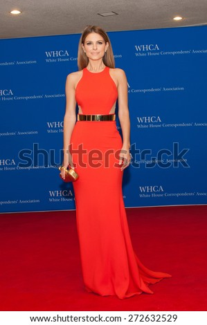 WASHINGTON APRIL 25 â?? Maria Menounos arrives at the White House Correspondentsâ?? Association Dinner April 25, 2015 in Washington, DC - stock photo