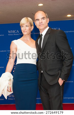 WASHINGTON APRIL 25 Michael Kelly and wife Karyn arrive at the White House Correspondentsâ?? Association Dinner April 25, 2015 in Washington, DC  - stock photo