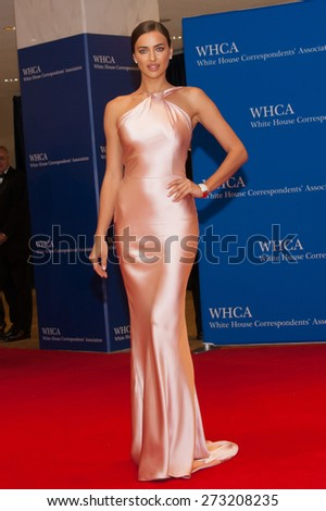 WASHINGTON APRIL 25  Model Irina Shayk arrives at the White House Correspondents Association Dinner April 25, 2015 in Washington, DC  - stock photo
