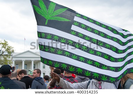 WASHINGTON APRIL 2 - Protesters rally in support of the legalization of marijuana in front of The White House in Washington DC on April 2, 2016