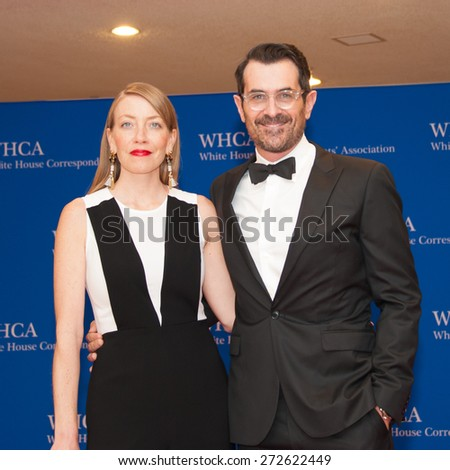 WASHINGTON APRIL 25 â?? Ty Burrell and wife Holly Burrell arrive at the White House Correspondentsâ?? Association Dinner April 25, 2015 in Washington, DC - stock photo