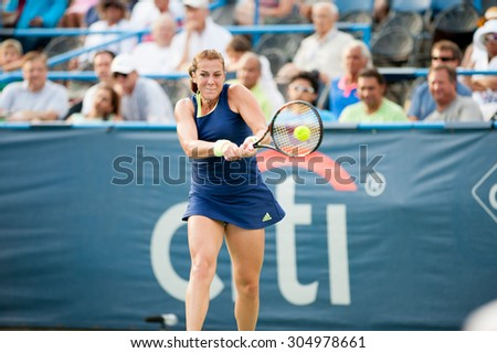 WASHINGTON  AUGUST 9: Anastasia Pavlyuchenkova (RUS) falls to  Sloane Stephens (USA, not pictured) in the womenâs finals of the Citi Open tennis tournament on August 9, 2015 in Washington DC - stock photo