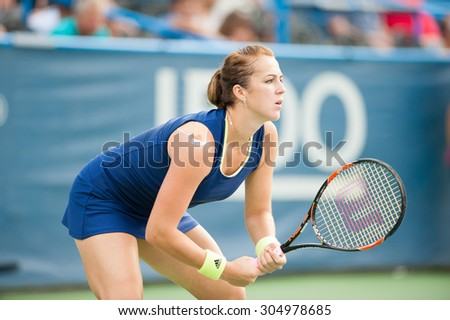 WASHINGTON AUGUST 9: Anastasia Pavlyuchenkova (RUS) falls to  Sloane Stephens (USA, not pictured) in the womens finals of the Citi Open tennis tournament on August 9, 2015 in Washington DC - stock photo