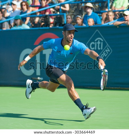 WASHINGTON - AUGUST 5: Feliciano Lopez (ESP) defeats Lleyton Hewitt (AUS, not pictured) at the Citi Open tennis tournament on August 5, 2015 in Washington DC