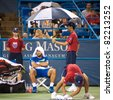 WASHINGTON - AUGUST 3: Fernando Verdasco (ESP) waits during a rain delay before defeating Marinko Matosevic (AUS, not pictured) at the Legg Mason Tennis Classic on August 3, 2011 in Washington. - stock photo
