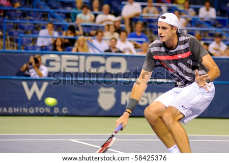 WASHINGTON - AUGUST 3: John Isner (USA) defeats Thiemo de Bakker (NED, not pictured) at the Legg Mason Tennis Classic on August 3, 2010 in Washington.