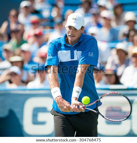 WASHINGTON AUGUST 9: John Isner (USA) falls to Kei Nishikori (JPN, not pictured) in the mens finals of the Citi Open tennis tournament on August 9, 2015 in Washington DC    - stock photo