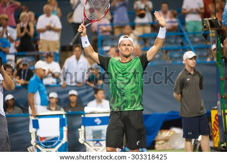 WASHINGTON â?? AUGUST 4:  Lleyton Hewitt (AUS) celebrates his win over John-Patrick Smith (AUS, not pictured) at the Citi Open tennis tournament on August 4, 2015 in Washington DC  - stock photo