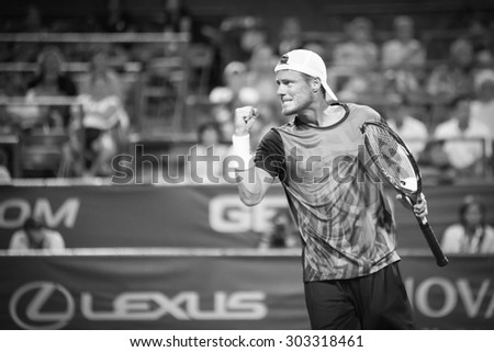 WASHINGTON â?? AUGUST 4:  Lleyton Hewitt (AUS) defeats John-Patrick Smith (AUS, not pictured) at the Citi Open tennis tournament on August 4, 2015 in Washington DC  - stock photo