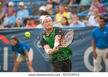 WASHINGTON - AUGUST 4:  Lleyton Hewitt (AUS) defeats John-Patrick Smith (AUS, not pictured) at the Citi Open tennis tournament on August 4, 2015 in Washington DC  - stock photo