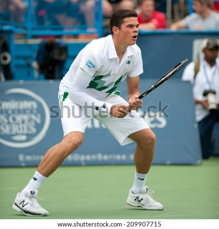 WASHINGTON - AUGUST 1: Milos Raonic (CAN) defeats Steve Johnson (USA, not pictured) at the Citi Open tennis tournament on August 1, 2014 in Washington DC - stock photo