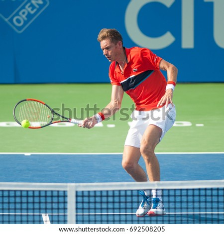 WASHINGTON – AUGUST 2: Nicolas Mahut (FRA) falls to Milos Raonic (CAN, not pictured) at the Citi Open tennis tournament on August 2, 2017 in Washington DC