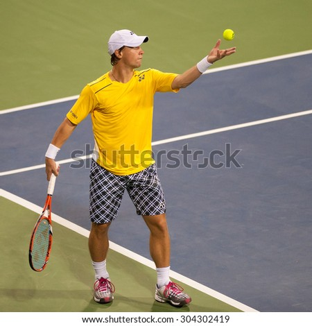 WASHINGTON - AUGUST 7: Ricardas Berankis (LTU) falls to John Isner (USA, not pictured)  at the Citi Open tennis tournament on August 7, 2015 in Washington DC