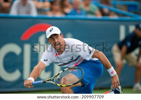 WASHINGTON - AUGUST 1: Steve Johnson (USA) is defeated by Milos Raonic (CAN, not pictured) at the Citi Open tennis tournament on August 1, 2014 in Washington DC - stock photo