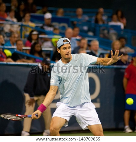 WASHINGTON - AUGUST 3, 2013:  Tommy Haas (GER) falls to Juan Martin del Potro (ARG, not pictured) in the semifinals of the Citi Open tennis tournament on August 3, 2013 in Washington