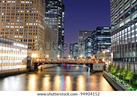 Washington boulevard in Chicago downtown at night - stock photo