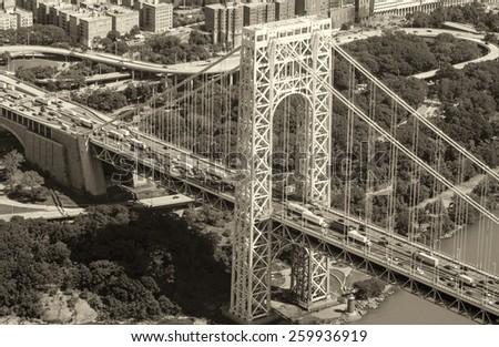 Washington Bridge in New York, aerial view with city traffic. - stock photo