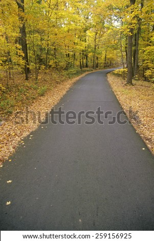 Washington Crossing State Park road on Autumn day, Scenic Route 29, NJ - stock photo