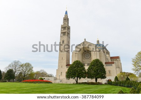 Washington D.C. - Basilica of the National Shrine of the Immaculate Conception  - stock photo
