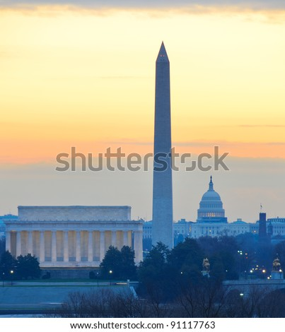 Washington D.C. city view in sunrise, including Lincoln Memorial, Monument and Capitol Hill building - stock photo