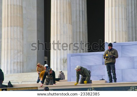 Washington D.C. - January 15, 2009 - Workers constructing platform for January 20, 2009 inauguration events for President-Elect Barack Obama
