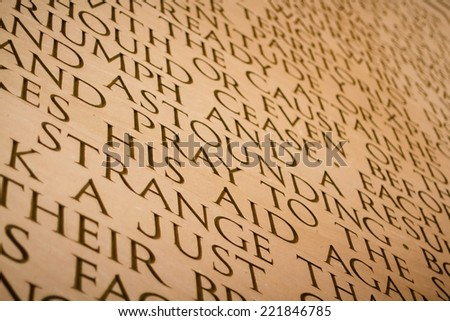 WASHINGTON, D.C. - JUNE 11, 2014: Lincoln's second inaugural address carved inside Lincoln Memorial in Washington, DC. Abraham Lincoln was the 16th president of the United States. - stock photo