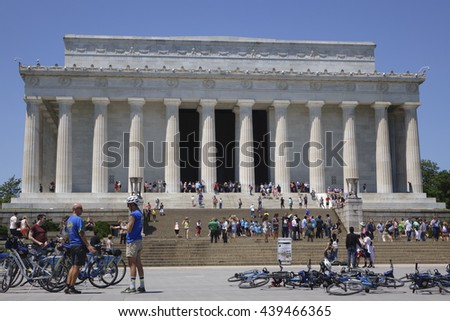 WASHINGTON, D.C. - JUNE 9: Tourists visiting Lincoln memorial with bicycles parked at bottom of steps on June 9, 2016 in Washington, D.C. - stock photo