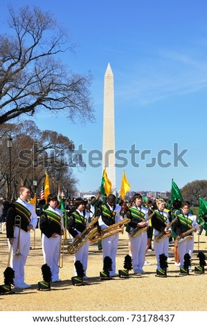 WASHINGTON, D.C. -  MARCH 13: Participants of St. Patrick's Day Parade March 13, 2011 in Washington, DC. - stock photo