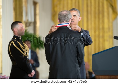 WASHINGTON, D.C. - MAY 19: President Obama awards Dr. Armand Paul Alivisatos on May 19, 2016 in Washington, D.C. The ceremony recognized the contributions of 17 top scientists and inventors. - stock photo