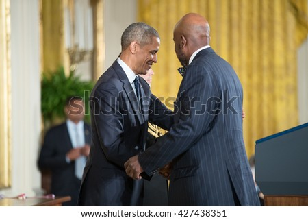 WASHINGTON, D.C. - MAY 19: President Obama awards  Dr. Cato T. Laurencin on May 19, 2016 in Washington, D.C. The ceremony recognized the contributions of 17 top scientists, engineers, and inventors.