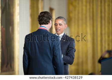 WASHINGTON, D.C. - MAY 19: President Obama awards  Dr. Jonathan Rothberg on May 19, 2016 in Washington, D.C. The ceremony recognized the contributions of 17 top scientists, engineers, and inventors. - stock photo