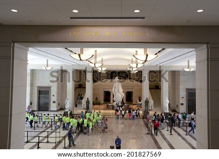 WASHINGTON D.C. - MAY 23 2014: The United States Capitol visitor center as seen on May 23, 2014. Located in Washington, D.C., it sits atop Capitol Hill at the eastern end of the National Mall. - stock photo