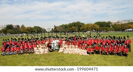 WASHINGTON, D.C. - OCTOBER 11, 2010:  Woodbridge High School Entertainment Corps from Irvine, California won first place in the first annual Field Show USA competition held on the White House Ellipse - stock photo