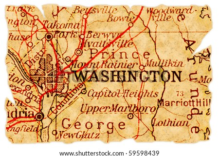 Washington D.C. on an old torn map from 1949, isolated. Part of the old map series. - stock photo