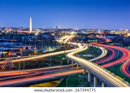 Washington, D.C. skyline with highways and monuments. - stock photo