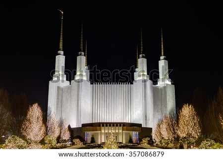Washington D.C. Temple, The Church of Jesus Christ of Latter-day Saints (LDS Church) in Kensington MD - stock photo