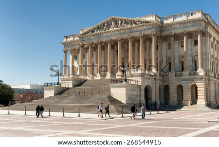 Washington D.C. - United States April 04, 2015 - United States Capitol Building east facade in daylight - stock photo