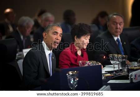 WASHINGTON D.C., USA - Mar 31, 2016: United States President Barack Obama at the Nuclear Security Summit which is a world summit, aimed at preventing nuclear terrorism around the globe