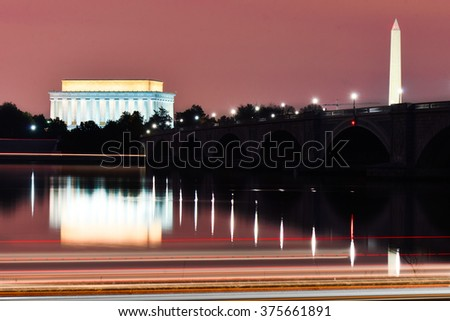Washington DC - Abraham Lincoln Memorial, Washington Monument and Arlington Bridge at night  - stock photo