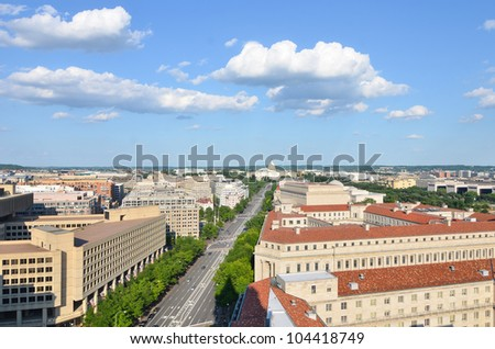 Washington DC - Aerial view of Pennsylvania street with federal buildings including FBI Building, Archives building, Department of Justice and US Capitol - stock photo