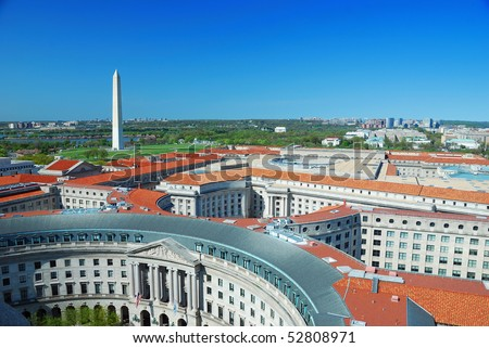 Washington DC aerial view with Washington monument and historical architecture. - stock photo