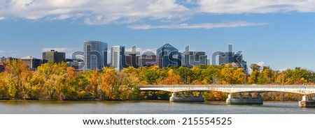 Washington DC - An Autumn view of Rosslyn through Potomac River - stock photo
